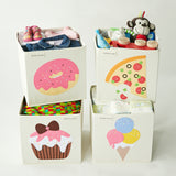 "Sprinkled Pink Donut 13"" Canvas Toy Storage Bin"