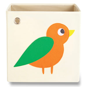 "Enchanted Orange Bird 13"" Canvas Toy Storage Bin"