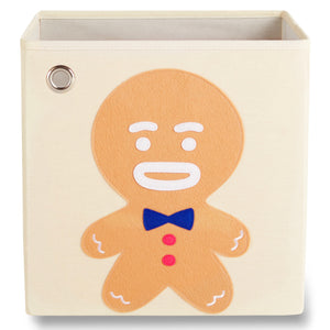 "Gingerbread Boy 13"" Canvas Toy Storage Bin"