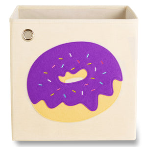 "Sprinkled Purple Donut 13"" Canvas Toy Storage Bin"