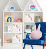 "Rainbow Unicorn 13"" Canvas Toy Storage Bin"
