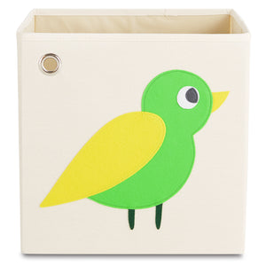 "Enchanted Green Bird 13"" Canvas Toy Storage Bin"