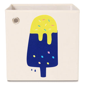 "Blueberry Lemon Popsicle 13"" Canvas Toy Storage Bin"