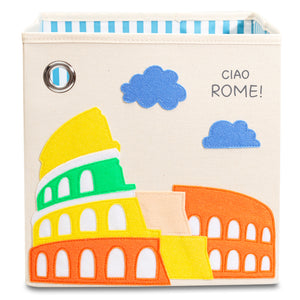 "Ciao Rome! 11"" Canvas Toy Storage Bin"