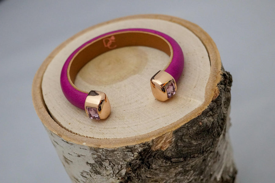 Single Cuff Bracelet with Stones- Fuchsia