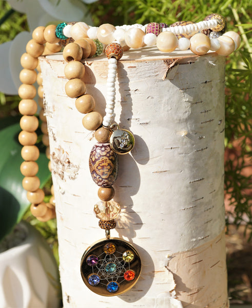 Metatron Highest Angel Shell, Wood, Mood Beaded Spiritual Healing Necklace