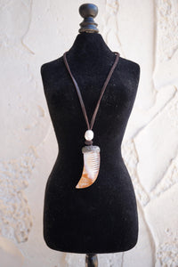 Pearl Orange Horn Necklace