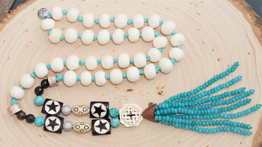 Stars Bone Turquoise Chocolate Jade CZ Bead Amazonite Tassel Ladies Necklace