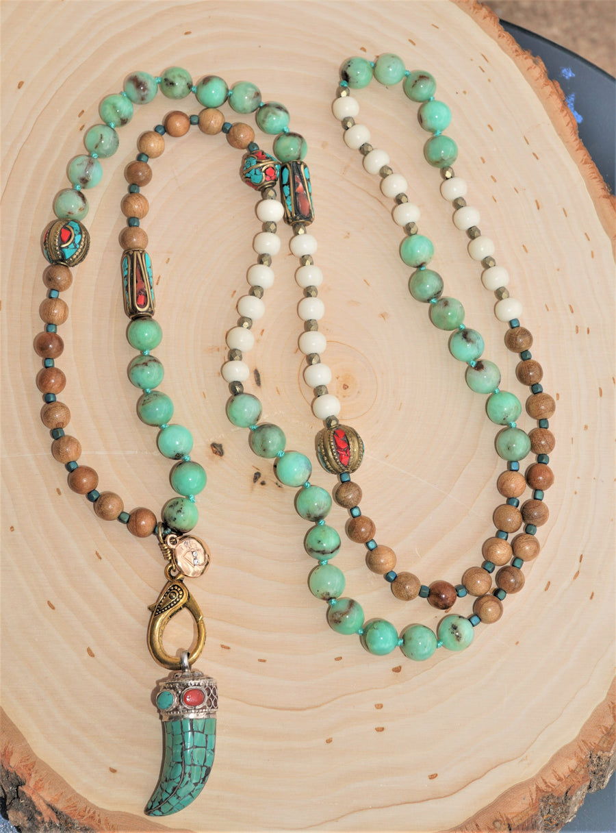Turquoise Wood Bone Brass Sterling Silver Turquoise Horn Pendant Ladies Necklace