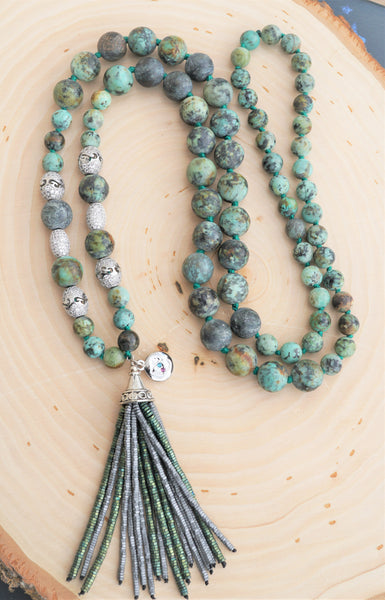 African Turquoise Tassel Ladies Necklace