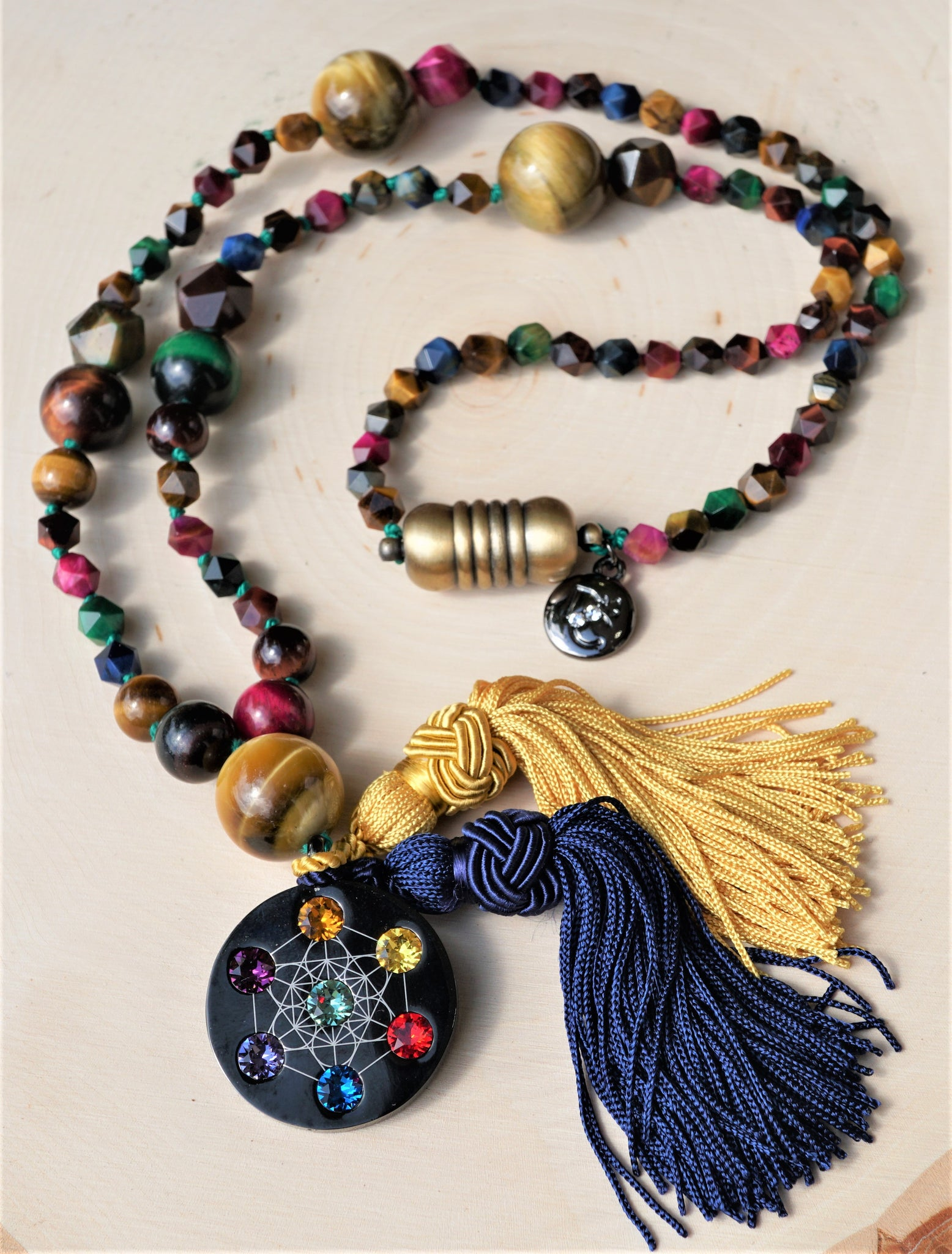Highest Angel Rainbow Tiger Eye Mala Spiritual Necklace