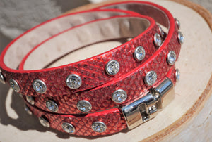 RED LEATHER WRAP BRACELET SWAROVSKI CRYSTALS BY ROBERTO MANTELLASSI