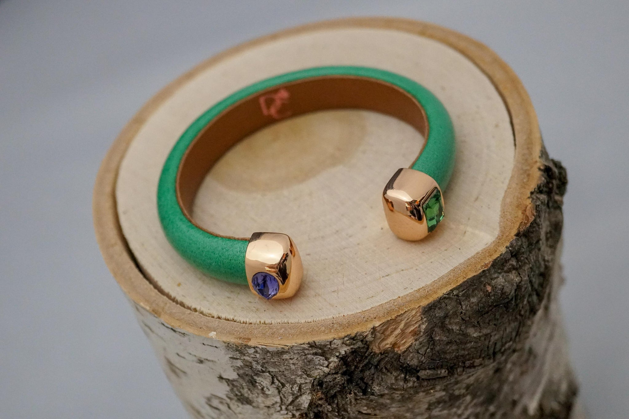 Single Cuff Bracelet with Stones-Green
