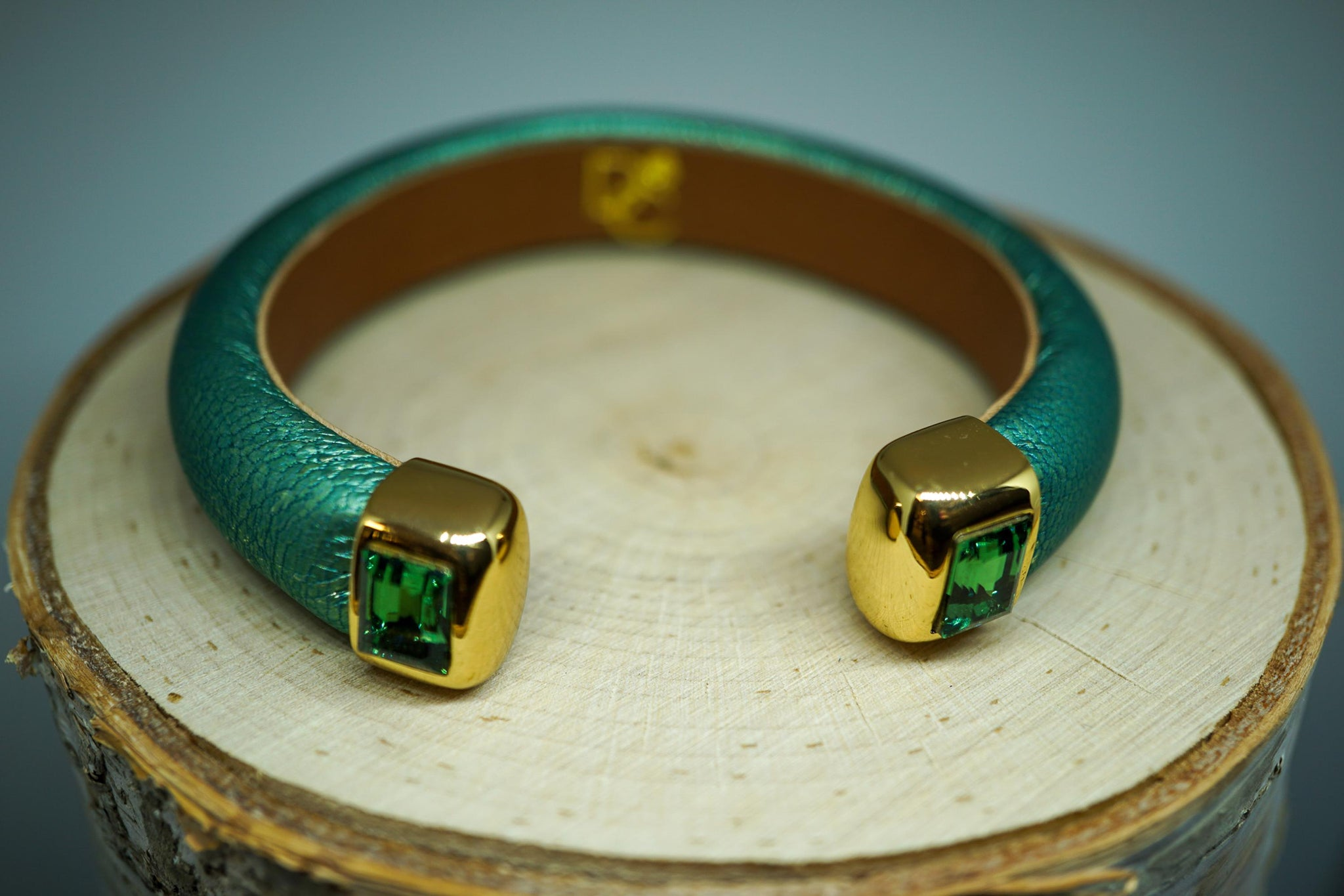 Single Cuff Bracelet with Stones- Mint