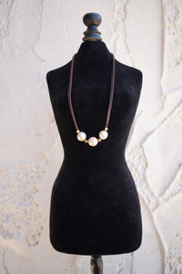 Pink Pearl Leather Lace Necklace - Brown