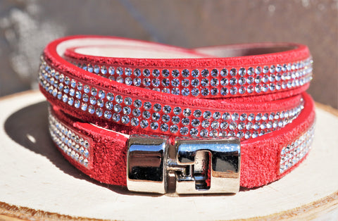 ITALIAN RED LEATHER WRAP BRACELET SWAROVSKI CRYSTALS BY DESIGNER ROBERTO MANTELLASSI