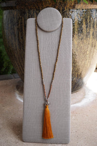 Elephant Tassel Necklace - Crystal & White