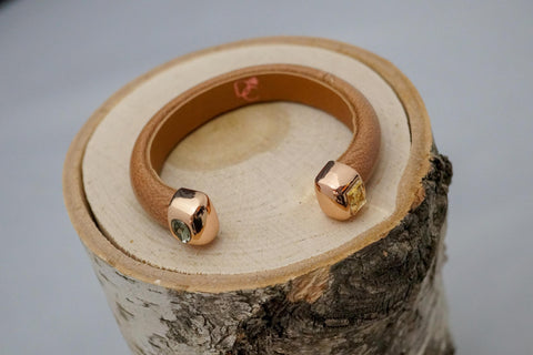 Single Cuff Bracelet with Stones-Light Brown