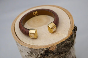 Single Cuff Bracelet with Stones- Dark Brown