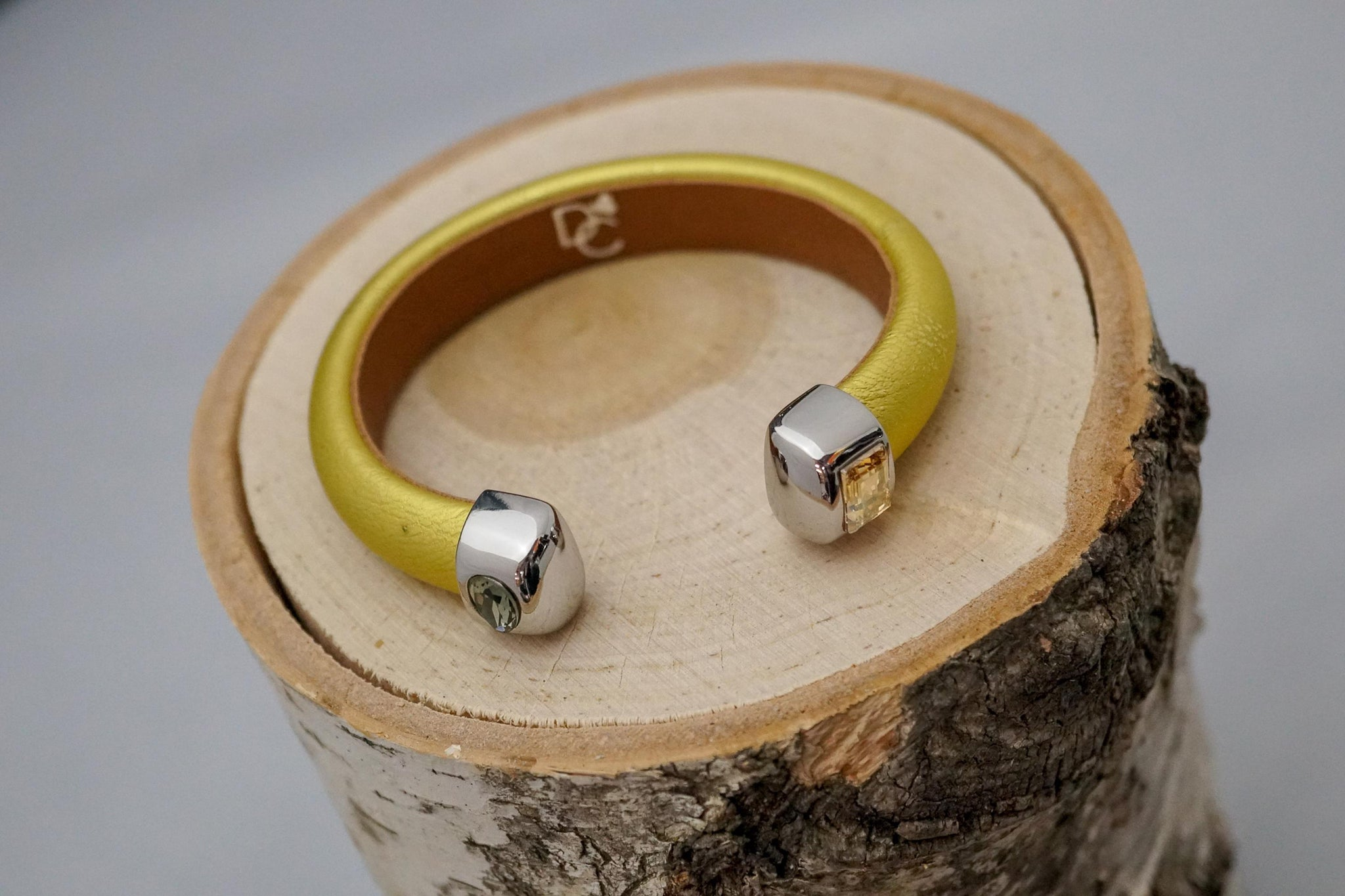 Single Cuff Bracelet with Stones- Gold