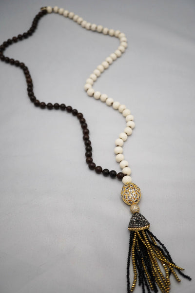 Duality Wood & Bone Necklace w/Gold Pendant