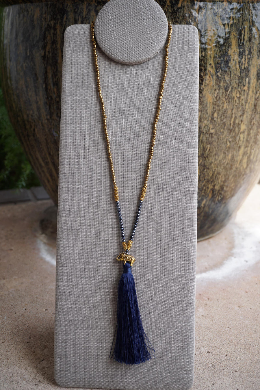 Elephant Tassel Necklace - Gold & Blue