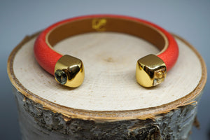 Single Cuff Bracelet with Stones- Coral