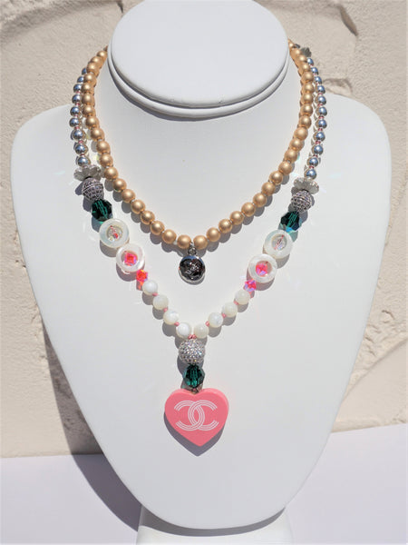 CHANEL PINK HEART DIPPED 2 HEMATITE SWAROVSKI CRYSTALS CZ BEAD LADIES NECKLACE