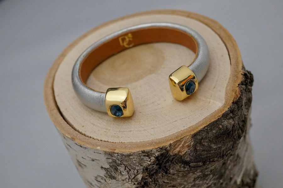 Single Cuff Bracelet with Stones- Silver with Blue Zircon