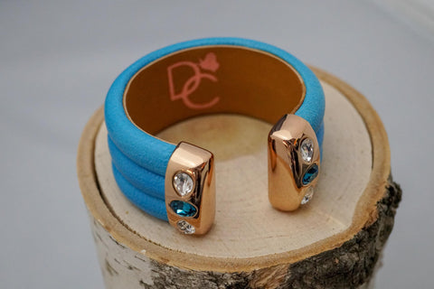 Triple Cuff Bracelet with Stones- Turquoise