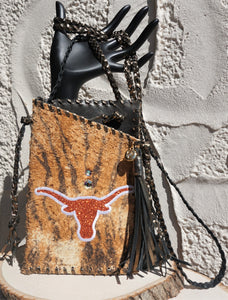 HYDE ME  LONGHORN EXOTIC TIGER PRINT LEATHER PRINT LADIES CELL PHONE PURSE