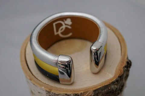 Triple Cuff Bracelet without Stones- Silver/Gold/Black