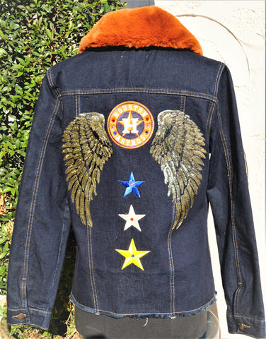 Astros Faux Fur Denim Jacket with Gold Wings
