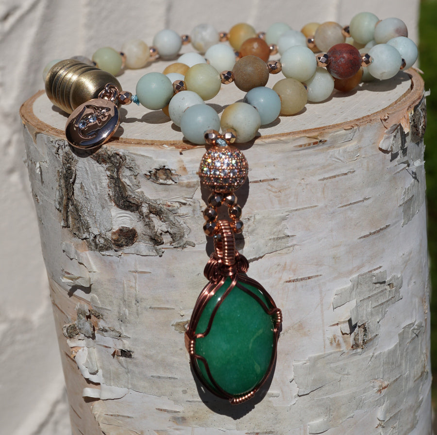 Jade Amazonite Copper Pendant 16