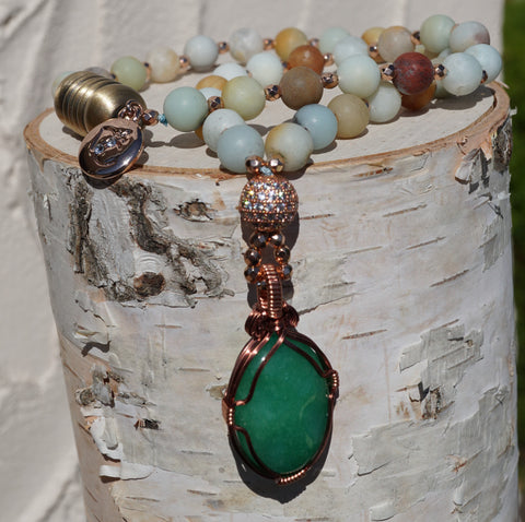 "Jade Amazonite Copper Pendant 16"" Necklace"