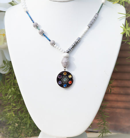 Metatron Highest Angel White Turquoise Necklace