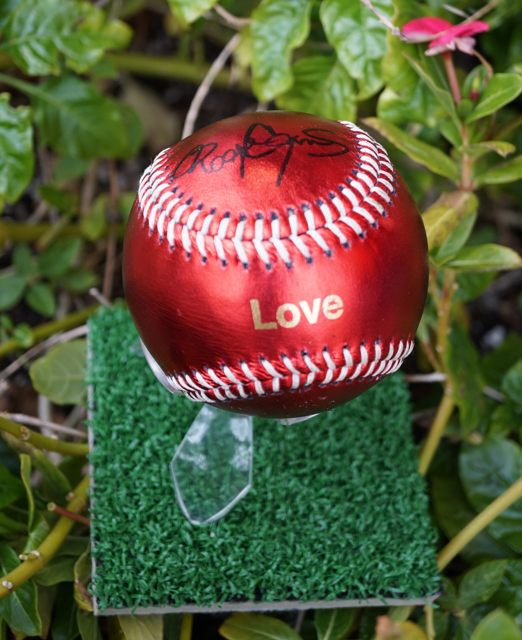 AUTOGRAPHED ROGER CLEMENS RED LOVE BASEBALL