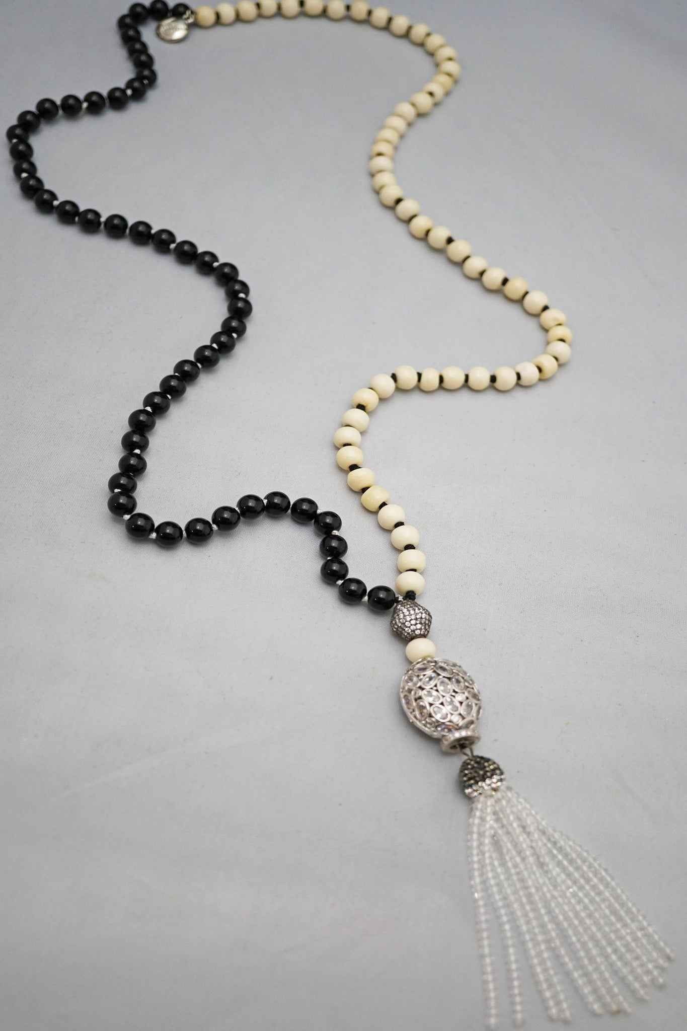 Duality Bone & Onyx Necklace w/Silver Pendant