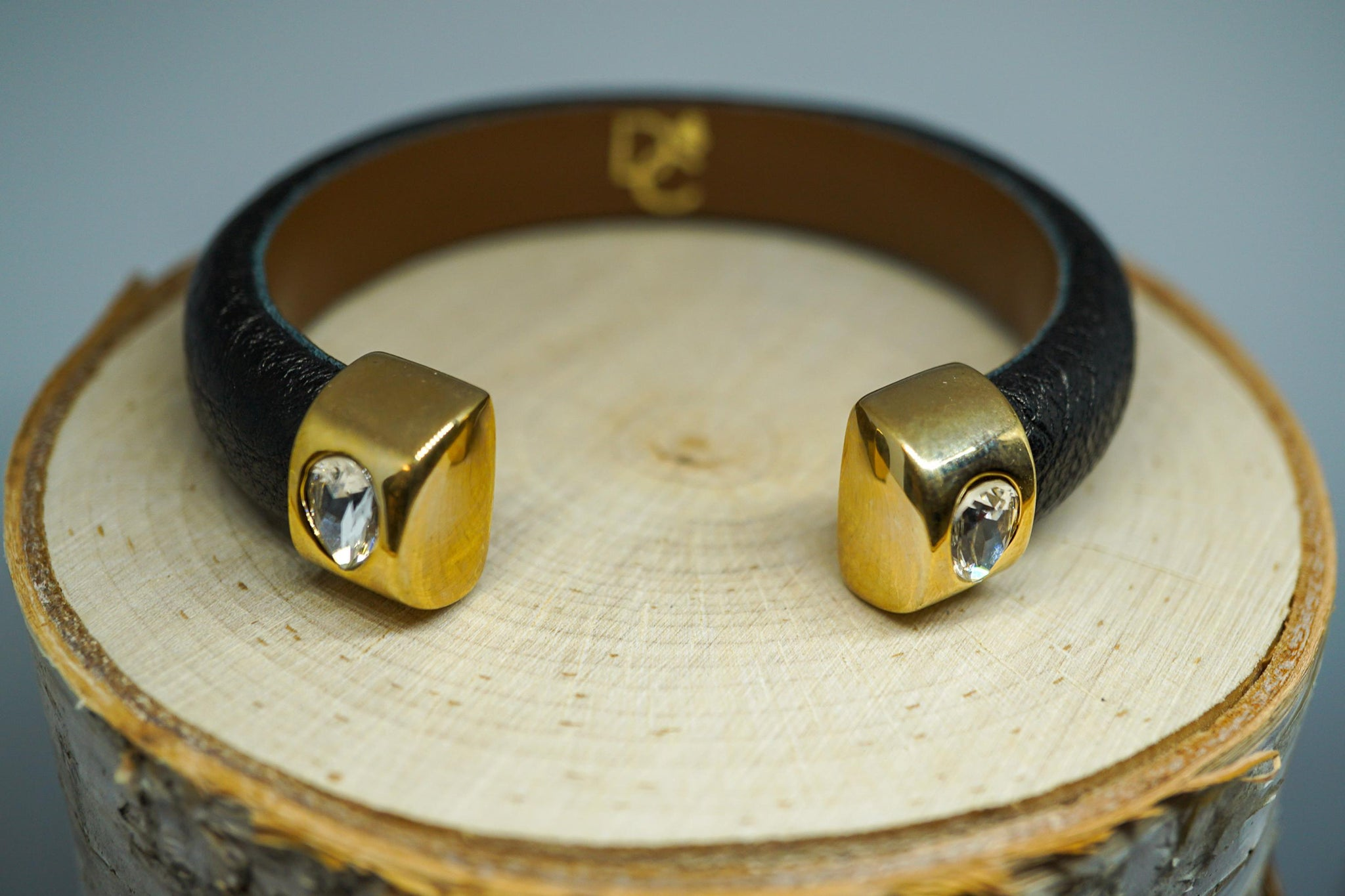 Single Cuff Bracelet with Stones- Black with Gold end cap