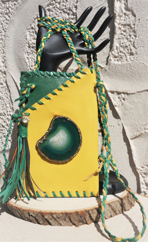 HYDE ME GREENBAY/BAYLOR/PACKERS OR OAKLAND TEAM LEATHER WITH GREEN AGATE STONE LADIES CELL PHONE PURSE