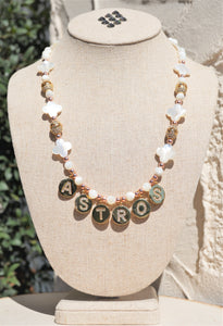 ASTROS LETTER SHELL COPPER & GOLD CZ BEAD NECKLACE