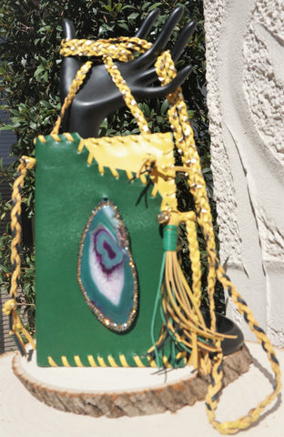 HYDE ME BAYLOR/PACKERS/GREENBAY OR OAKLAND TEAM LEATHER WITH GREEN AGATE STONE LADIES CELL PHONE PURSE