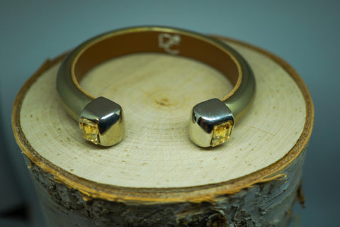 Single Cuff Bracelet with Stones- Metallic Gold