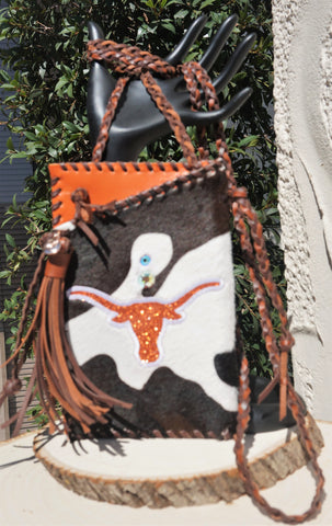 HYDE ME LONGHORN BROWN COW  LEATHER PRINT LADIES CELL PHONE PURSE