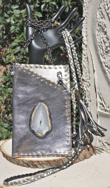 HYDE ME SILVER & GOLD LEATHER WITH DRUZY AGATE STONE LADIES CELL PHONE PURSE