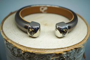 Single Cuff Bracelet with Stones- Bronze
