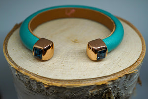 Single Cuff Bracelet with Stones- Seagreen
