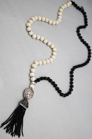 Duality Necklace with Wood/Bone Beads and Silver Pendant
