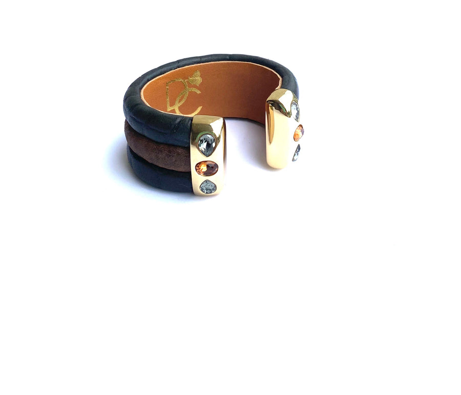 Triple Cuff Bracelet with Stones- Brown/Black