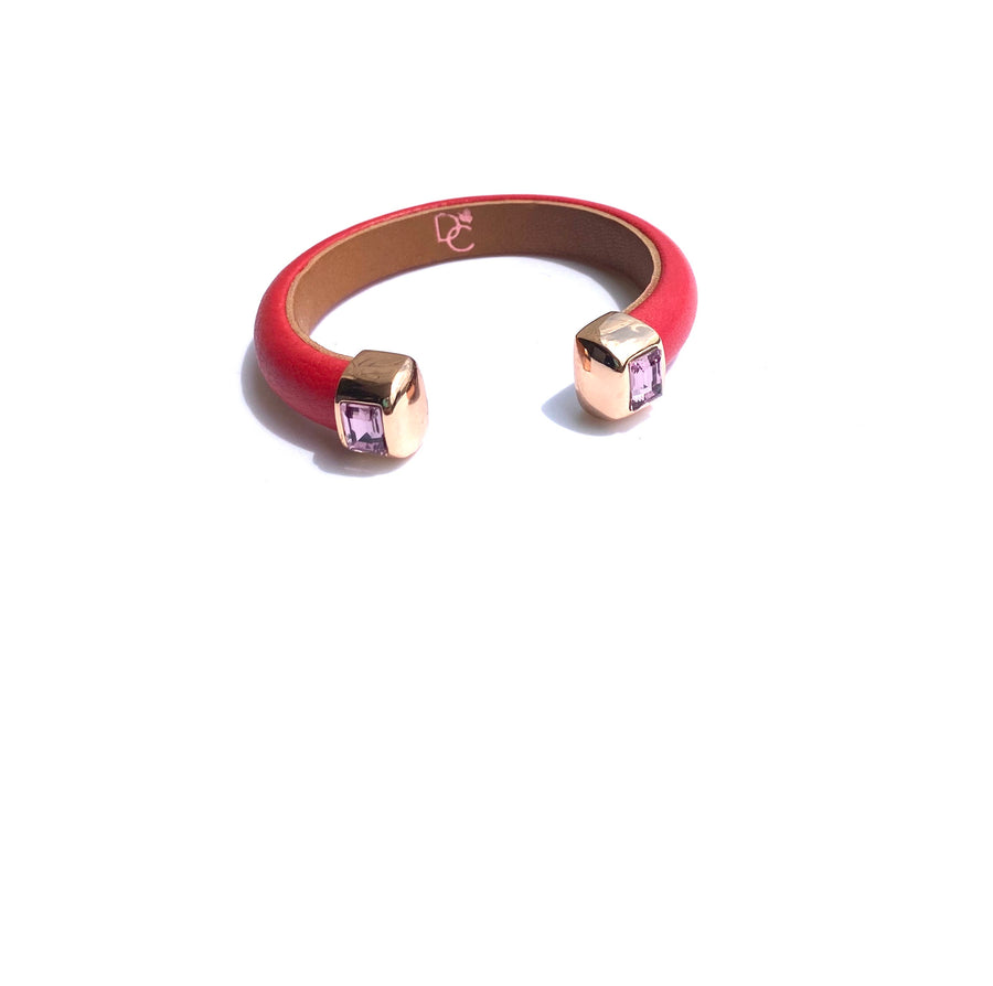 Single Cuff Bracelet with Stones- Red w/Amethyst